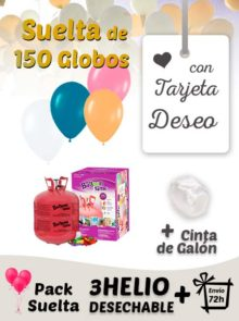 Suelta 150 Globos Boda con Tarjeta Deseo con Helio