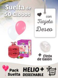 Suelta 50 Globos Boda con Tarjeta Deseo y Helio