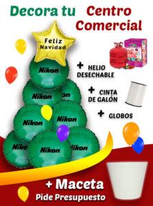 Arbol de Navidad con Globos de Helio Personalizados - Decora tu Centro Comercial
