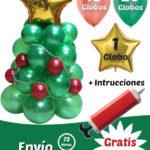 Arbol de Navidad con 60 Globos Latex 25 cm y Estrella Personalizada 42 cm
