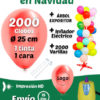 2000 Globos Personalizados 25 cm 1 cara 1 tinta + 2000 Varillas + Inflador Eléctrico + Expositor Pack Decora Tu Tienda en Navidad