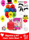40 Globos Bigotes 30 cm + Kit PhotoCall + Helio Maxi · Pack Bigotes Maxi