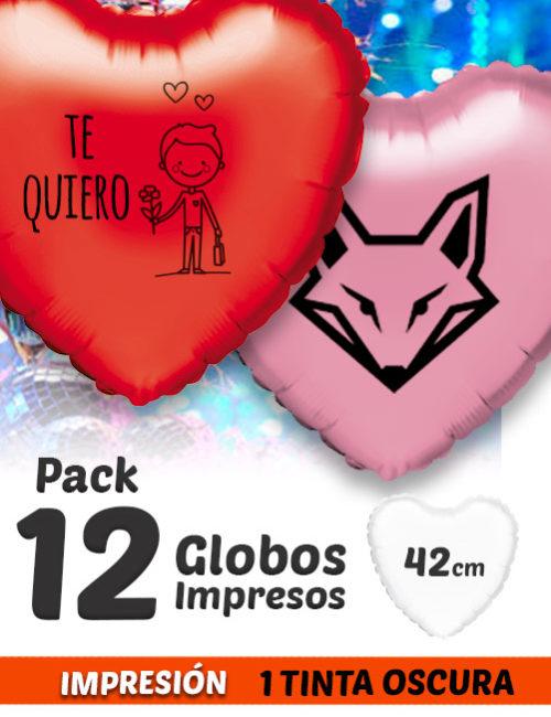 Pack de 12 Globos de Helio Personalizados Corazón A 1 Tinta 42 cm