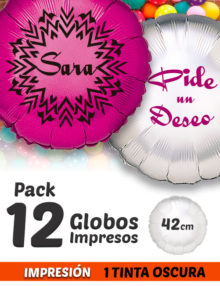 Pack de 12 Globos de Helio Personalizados Redondos A 1 Tinta 42 cm
