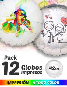 Pack de 12 Globos de Helio Personalizados Redondos A Todo Color 42 cm