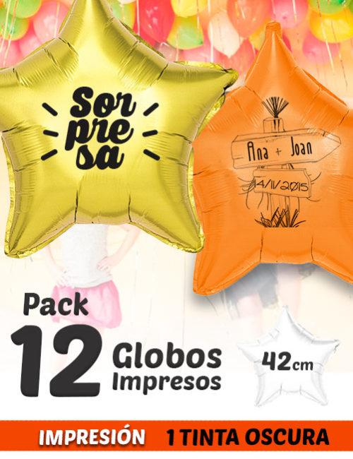 Pack de 12 Globos de Helio Personalizados Estrella A 1 Tinta 42 cm