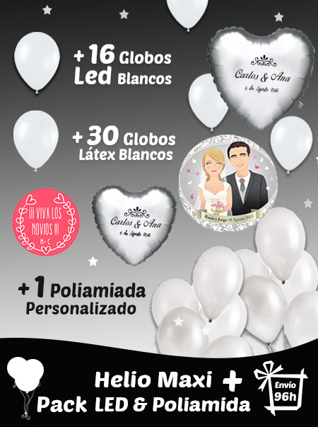 16 Globos LED Blancos + 30 globos blancos + Globo Poliamida Personalizados y Helio Grande · Pack LED Grande