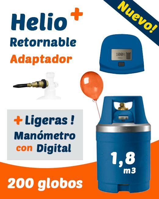 Helio Globos Retornable con Medidor Digital 1,8 m3