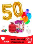 Pack Numeros: 2 Globos Numeros Dorados Poliamida + Helio Maxi