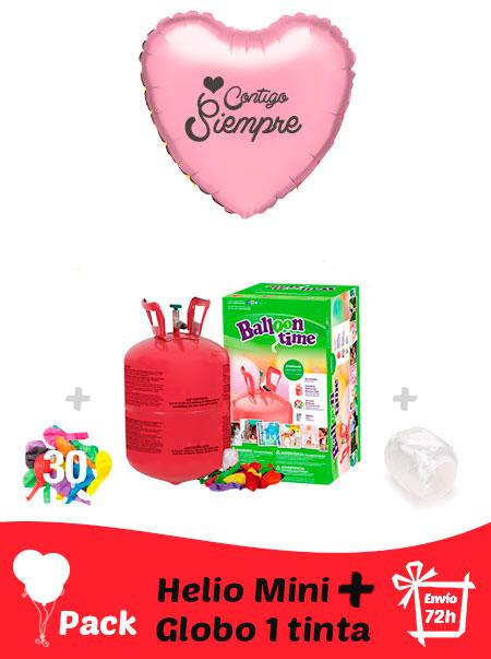 Pack San Valentin: Globo Poliamida Personalizado 1 TINTA + Helio Mini