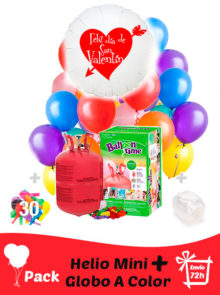 Pack San Valentin Color: Globo Poliamida Personalizado A Color + Helio Mini