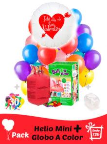 Pack San Valentin Color: Globo Poliamida Personalizado A Color + Helio Mini