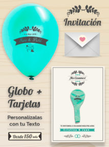 Invitaciones de Boda 1: Tarjeta y Globo Personalizado + Sobre