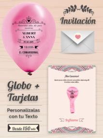 Invitaciones de Boda 2: Tarjeta y Globo Personalizado + Sobre | Globo 25 cm Metalizado