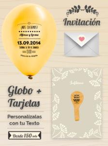 Invitaciones de Boda 4: Tarjeta y Globo Personalizado + Sobre