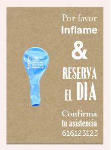 Invitaciones de Boda 3: Tarjeta y Globo Personalizado + Sobre | Globo 25 cm Metalizado