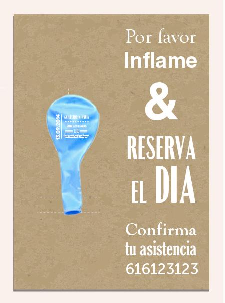 invitaciones de boda 3 tarjeta y globo personalizado sobre globo