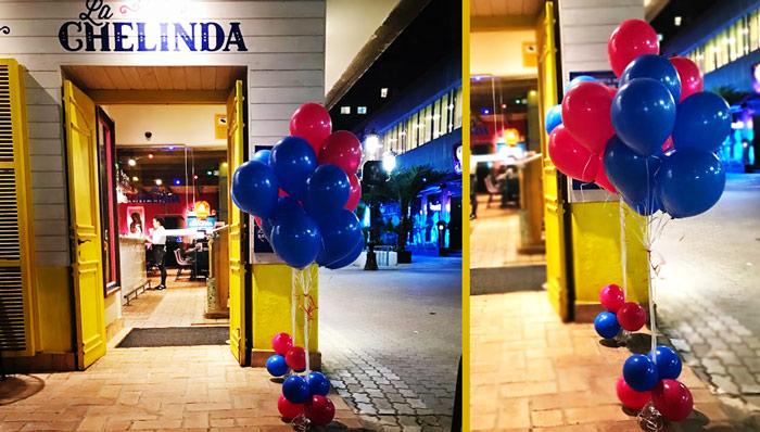 decoracion con globos Taquería la Chelinda