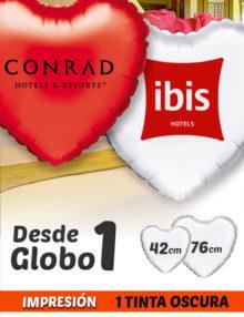 Globos de Helio Personalizados Corazón Ramos A 1 Tinta 42 y 76 cm