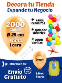 2000 Globos Personalizados 25 cm 1 cara 1 tinta + 2000 Varillas + Inflador Eléctrico + Expositor Pack Decora Tu Tienda
