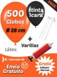 500 Globos Personalizados 28 cm 1 cara 1 tinta + 500 Varillas + Inflador Manual Gratis Pack Básico
