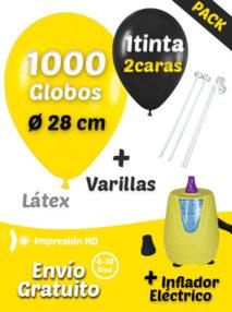 1000 Globos Personalizados 28 cm 2 caras 1 tinta+ 1000 Varillas + Inflador Eléctrico Pack Ahorro