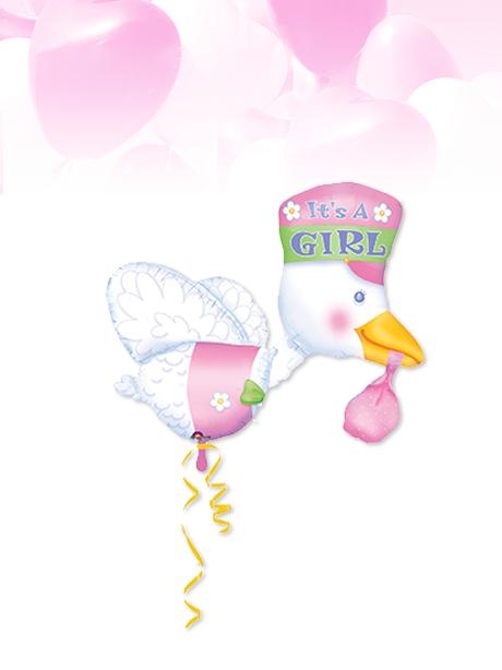 Globo de Helio Recién Nacido Cigüeña Niña